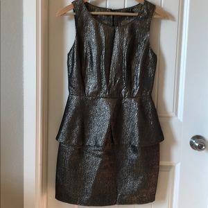 Bronze Metallic Peplum party dress